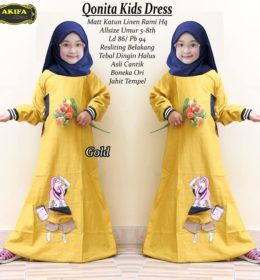 Qonita Kids Dress Gold